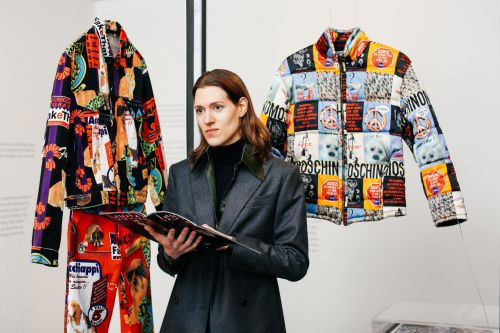 Michele Fornera with clothes designs