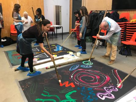 People painting with large sticks onto black canvas on floor