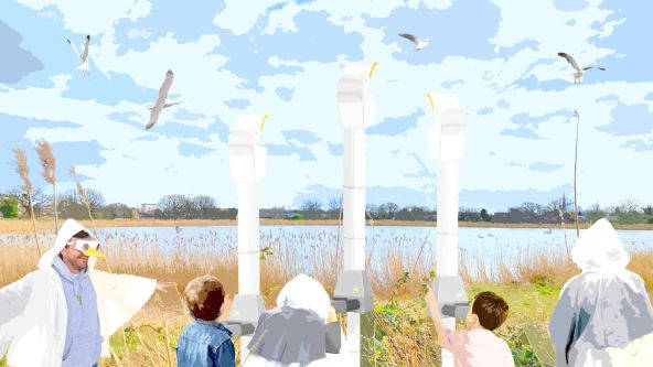 Illustration of person dressed as bird with people using periscopes in wetlands