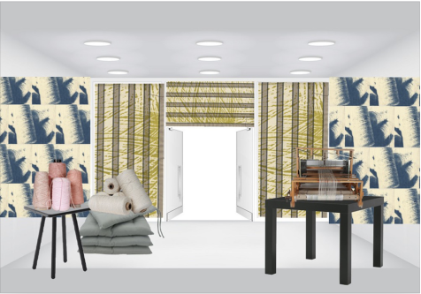 Computer-generated moodboard of a room with wallhangings, curtains and furniture