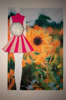 Collage of sunflowers and drawing of model wearing a pink dress
