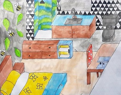 Colourful architectural painting of inside of a house