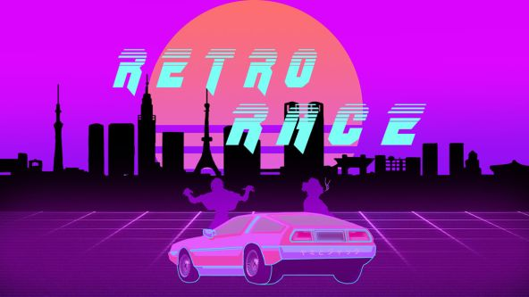 A pink and purple promotional image for Retro Racer which depicts a silhouette of a car against a skyline.