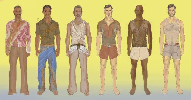 illustrations of various menswear outfits
