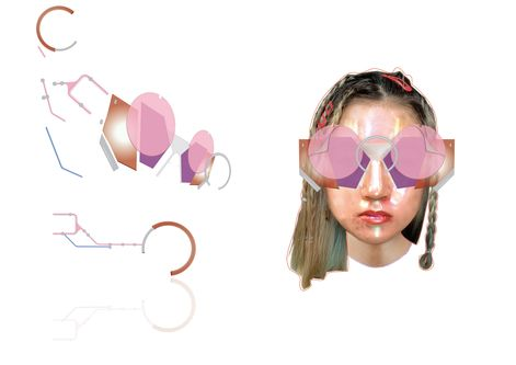 illustration of multilayered eyewear accessories, deconstructed on the left, combined on a sketch of a model on the right