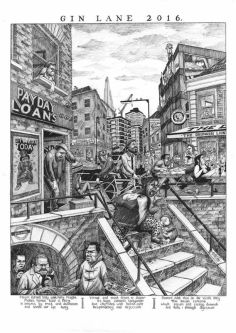 Black and white illustration in style of Hogarth