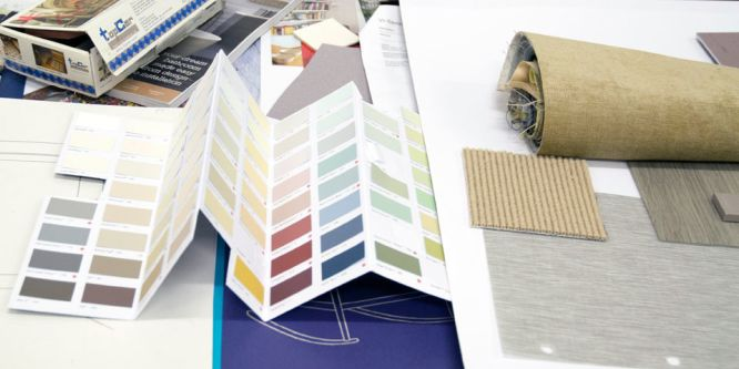 Interior design materials and palette