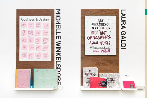 Exhibition wall displays by two separate LCC students