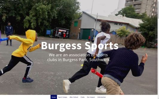 Photograph of three children running in a playground, with the text 'Burgess Sports' across it