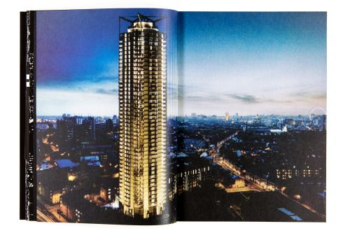 Pages of Metropole book showing London high-rise at night