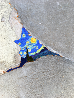 Close-up of a crack in a concrete wall which has details of van Gogh's A Starry Night painted onto it