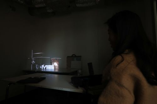 Student working in LCC's Creative Technology Lab on Projection Mapping