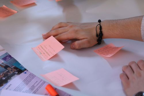 Post it notes on the table with notes from WaterAid workshop