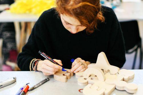 Student working on model making - Eve Lague, BA (Hons) Illustration