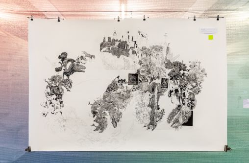 An intricate and large scale, detail drawing  exploring nature vs the destruction of the planet