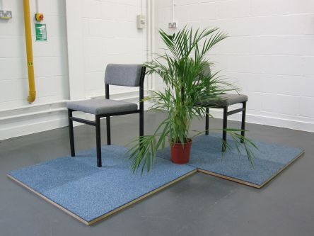 Office furniture set for performance piece by Demelza Watts.