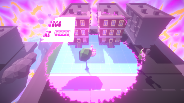 screenshot of game with 3 house with characters mood impacting on the colours they see.