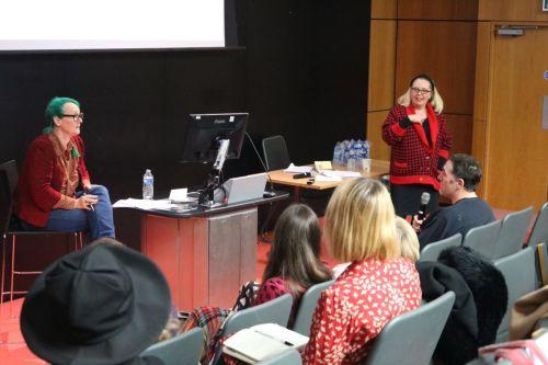 Lucy Robinson presenting