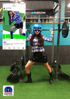 image of wom,an in blue wig at the gym