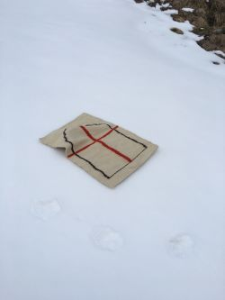 a rug in the snow