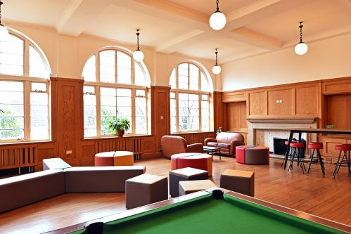 Cedars Hall Common Room with pool table and various seating areas