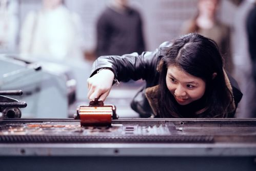 Woman using the letterpress
