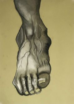 Painting portraying a person's foot