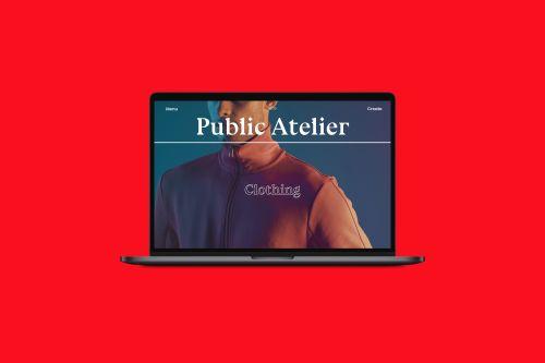 Laptop showing website for 'Public Atelier'