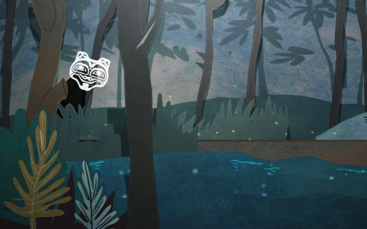 Animation showing a lakeside landscape in dark, muted colours. Above the lake hovers a white mask-like face.