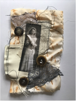 Old photograph of woman in wedding dress stitched onto fabric with old lace and buttons