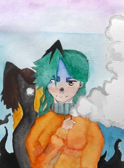 Painting of person in orange jumper with green hair