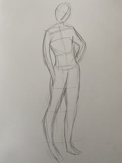Pencil sketch of a mannequin
