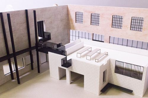 Detail of inside an architectural model which shows an outside space