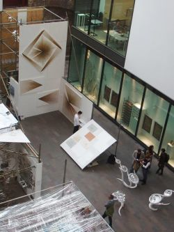 Birdseye view of MA Art and Science installation during Degree Show 2016