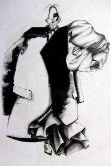 Black and white funky charcoal trenchcoat