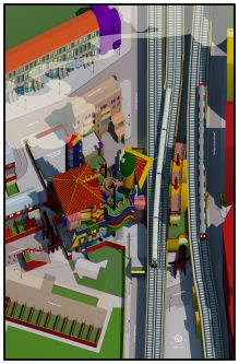 A colourful architectural drawing