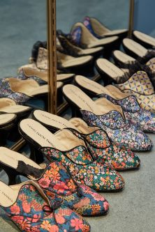 Line up of shoes with Liberty print by Daniel Pascal Tanner