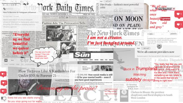 Image of newspaper article with text overlay