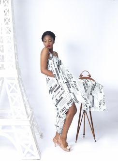Model wearing printed dress