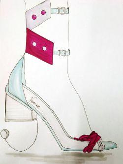 Veronica Giron's illustrated shoe design with heel.