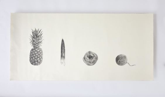 Drawing of process from pineapple to ball of yarn