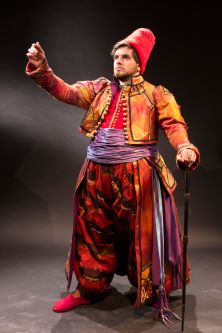 Male costume with Middle Eastern and historical influences by Aileen Faller.