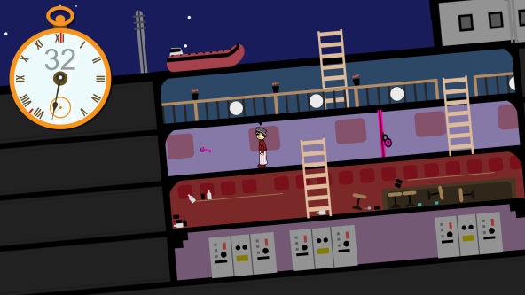 screenshot of game where character has to escape from the titanic in 37 seconds. screenshot displays the time in a large gold clock with the ship on the right hand side.
