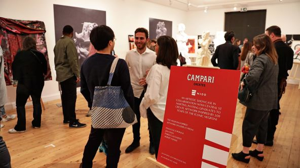 Visitors to the launch of CSM graduates' designs for Campari Creates
