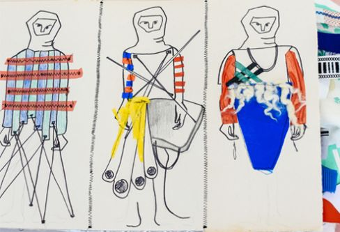 Sketchbook drawing of outfits on models
