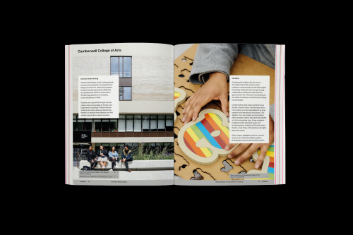 Mock-up of the 'Camberwell College of Arts' spread for the UAL prospectus