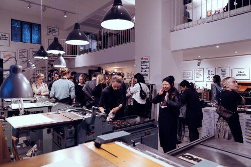 People in a letterpress studio
