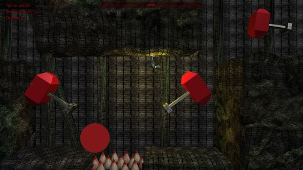 Still from an animated game showing a dark underground interior with four floating objects that have a red geometric shape attached to a metal pole.