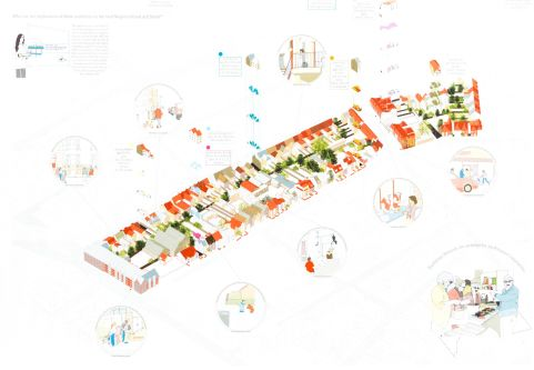 A brightly coloured computer generated architectural sketch showing a long row of houses.
