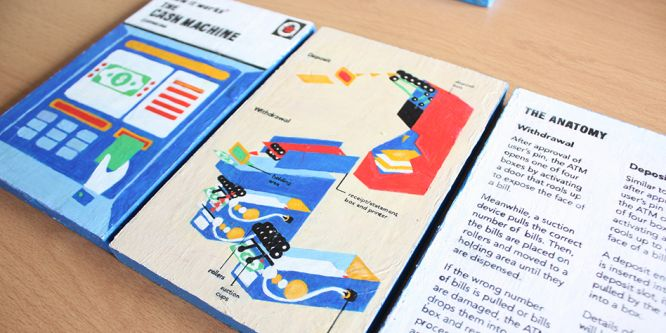 Mock-up designs made by a student in the style of vintage Ladybird Illustration. The image shows a colourful diagram of a cash machine.